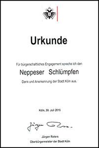 Urkunde Ehrenamtspreis der Stadt Köln 2015
